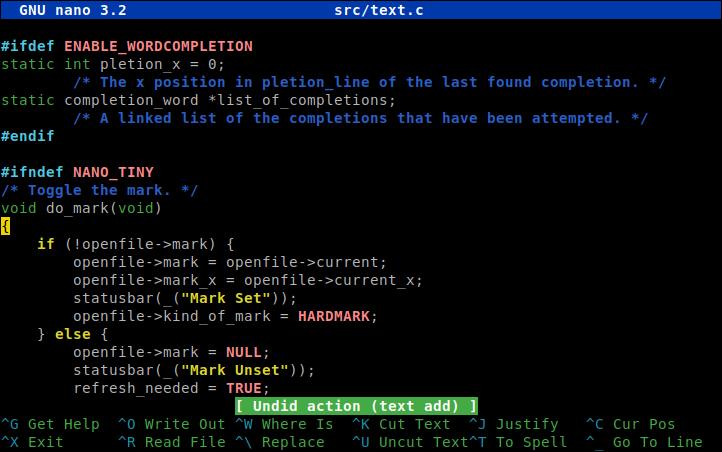 GNU nano: Screenshots
